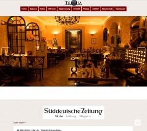 Münchner Webdesign, und Betreuung Restaurant Troja München