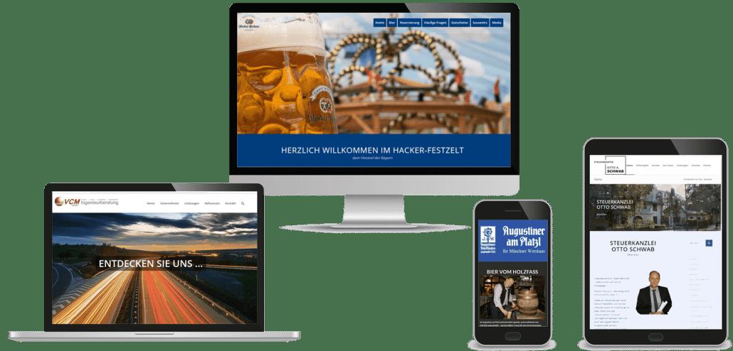 Münchner Webdesign, Responsives Webdesign, moderne Webseiten für mobile Geräte